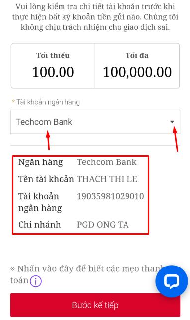 nạp tiền ngân hàng địa phương